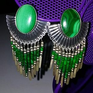 Jewelry - Sterling and Malachite pierced Statement earrings